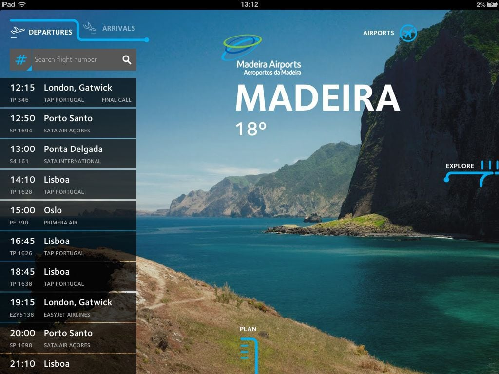 Madeira Airport section at ANA Mobile App