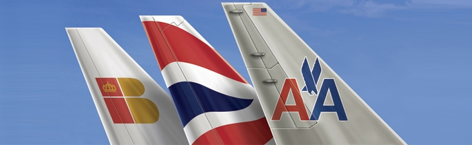 Commemorating logo for the Joint Business Agreement. Iberia - British Airways - American Airlines