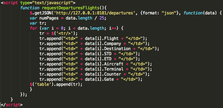 JavaScript function for calling the webservice and building the flights table.