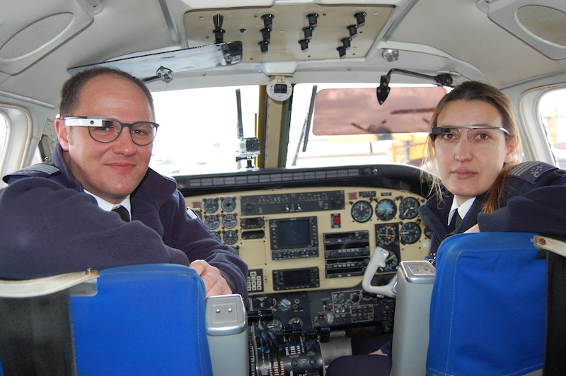 Pilots wearing Google Glasses.