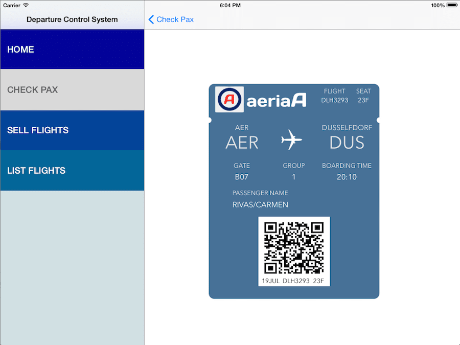 Boarding Card issued by our DCS mockup in iOS