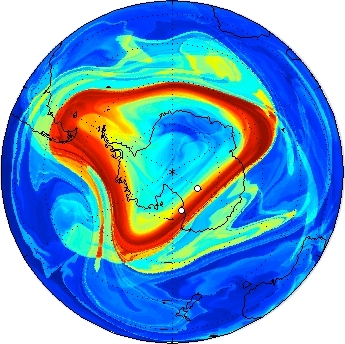 The manifold geometry of the Antarctic Polar vortex (as revealed in A. de La Cámara, A. M. Mancho, K. Ide, E. Serrano, R. Mechoso. Journal of Atmospheric Sciences. 2012.)