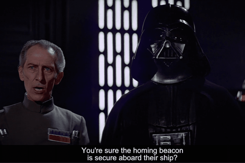 Beacons are not new, in Episode IV, the Empire put one in the Millennium Falcon for tracing it in their way to Rebel Secret Facility. Credit: Disney. (LucasFilms)