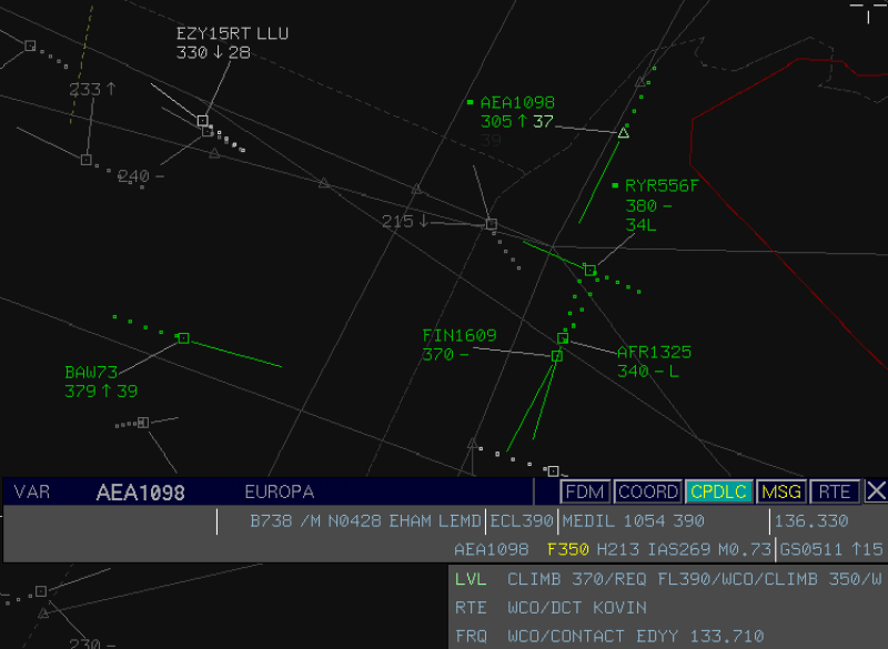 Example of ATC screen when using CPDLC at MUAC. Credit: Eurocontrol