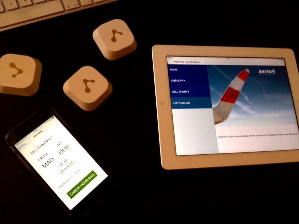 Beacons used in the demo, SmartBag iPhone App and DCS iPad App. www.aeriaa.com
