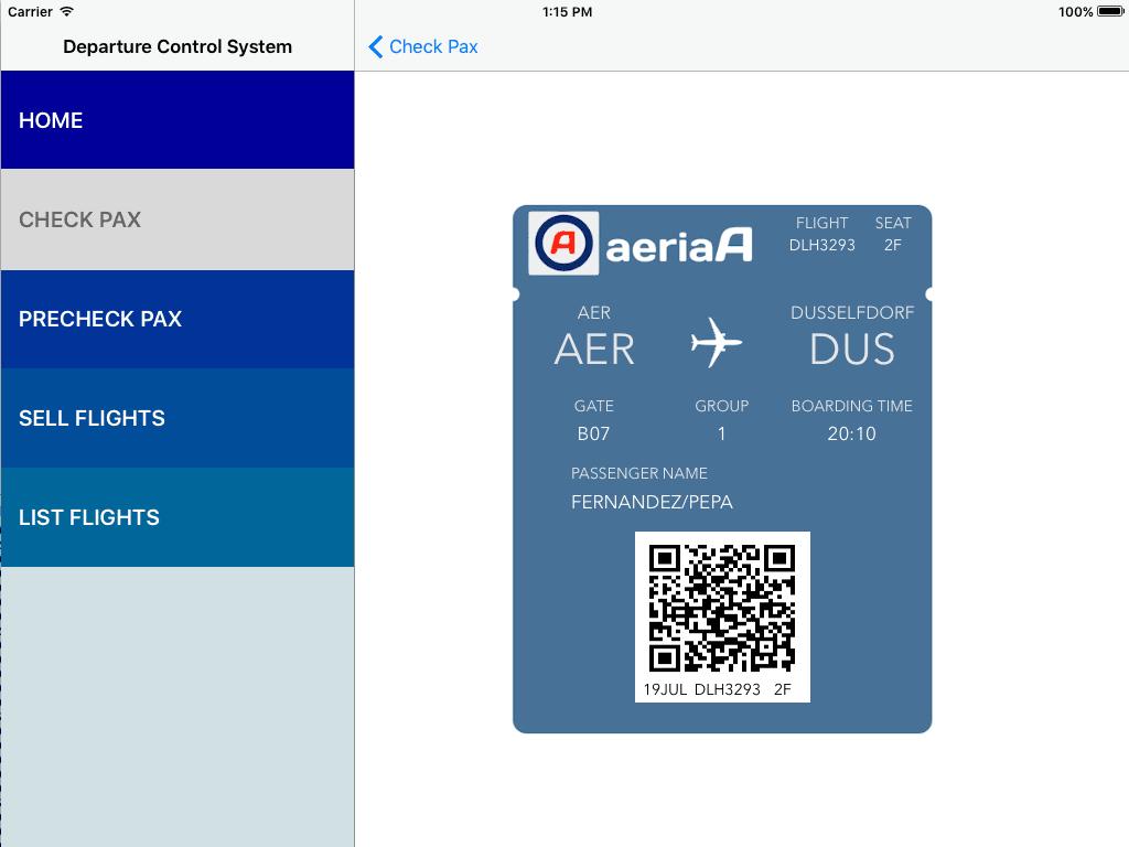 Virtual Boarding Card issued by the DCS. www.aeriaa.com