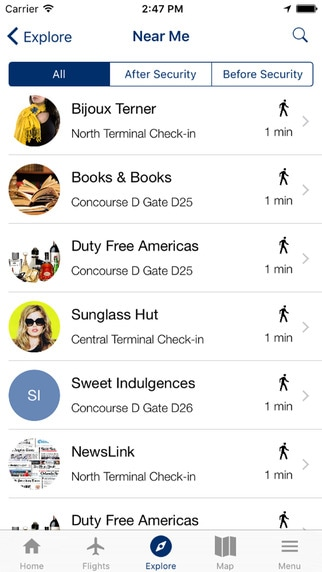 MIA App. Nearest facilities, services in the airport and their distance from the passenger's location.