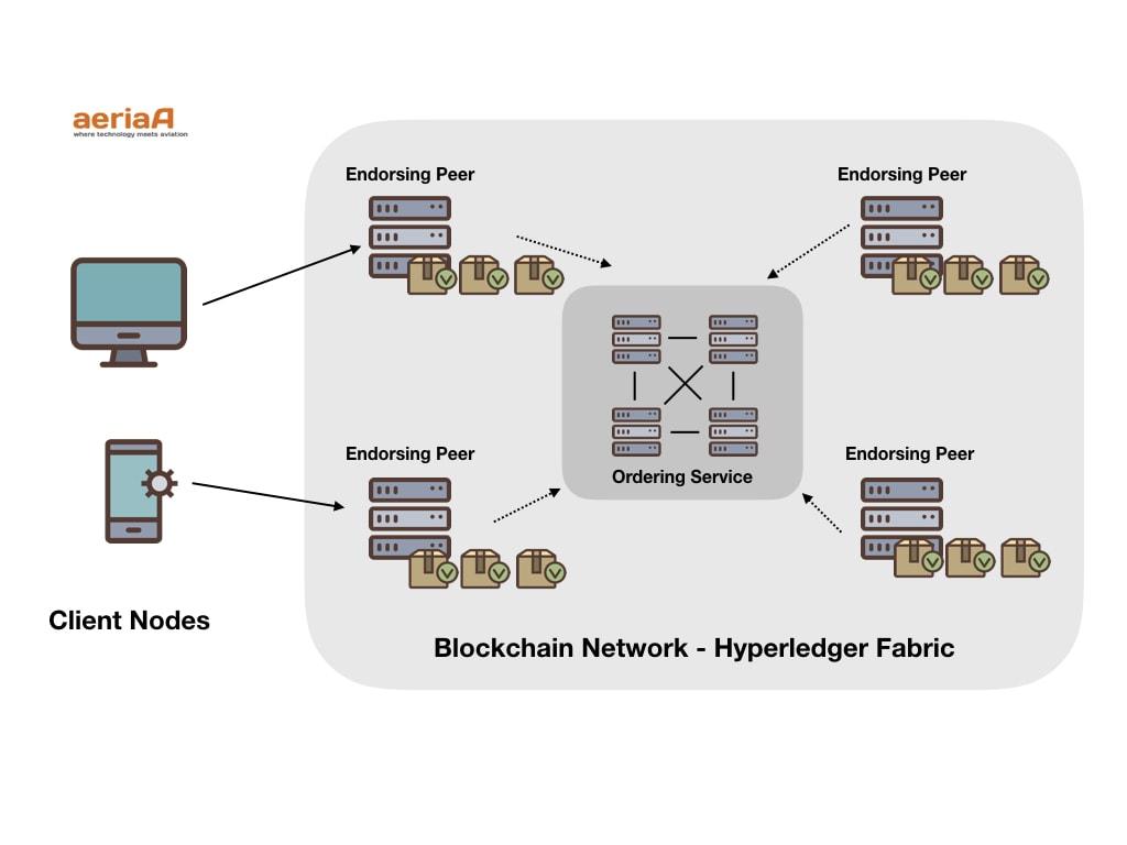 Hyperledger Fabric Blockchain Architecture. Nodes. Credit aeriaa.com (Pedro Garcia). Icon credit (Anatoly)