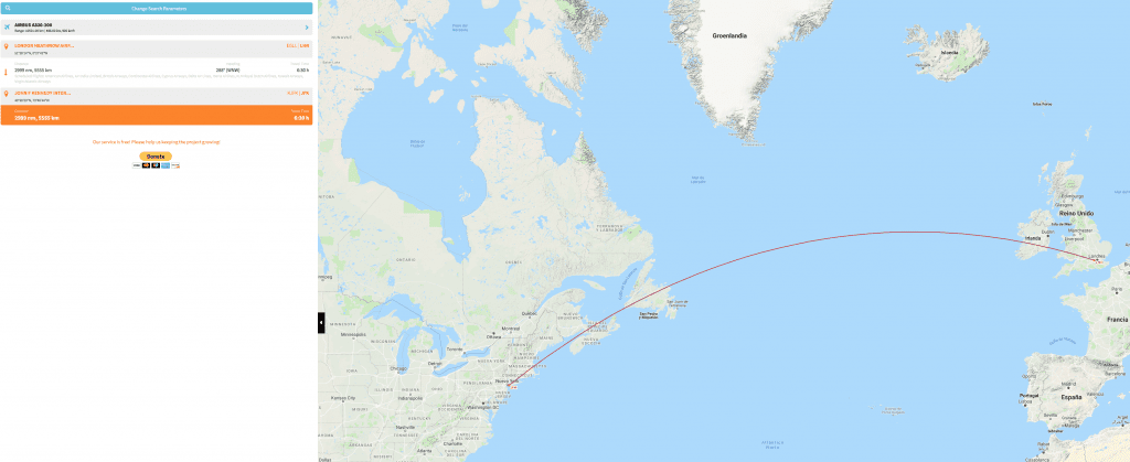 Great Circle Distance from London to New York. https://www.greatcirclemapper.net/