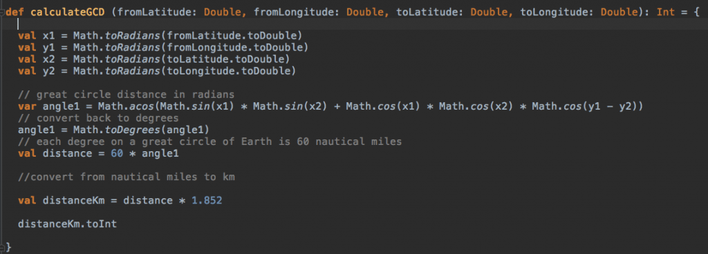Great Circle Distance between two coordinates. Scala code based on Robert Sedgewick and Kevin Wayne Java's code.